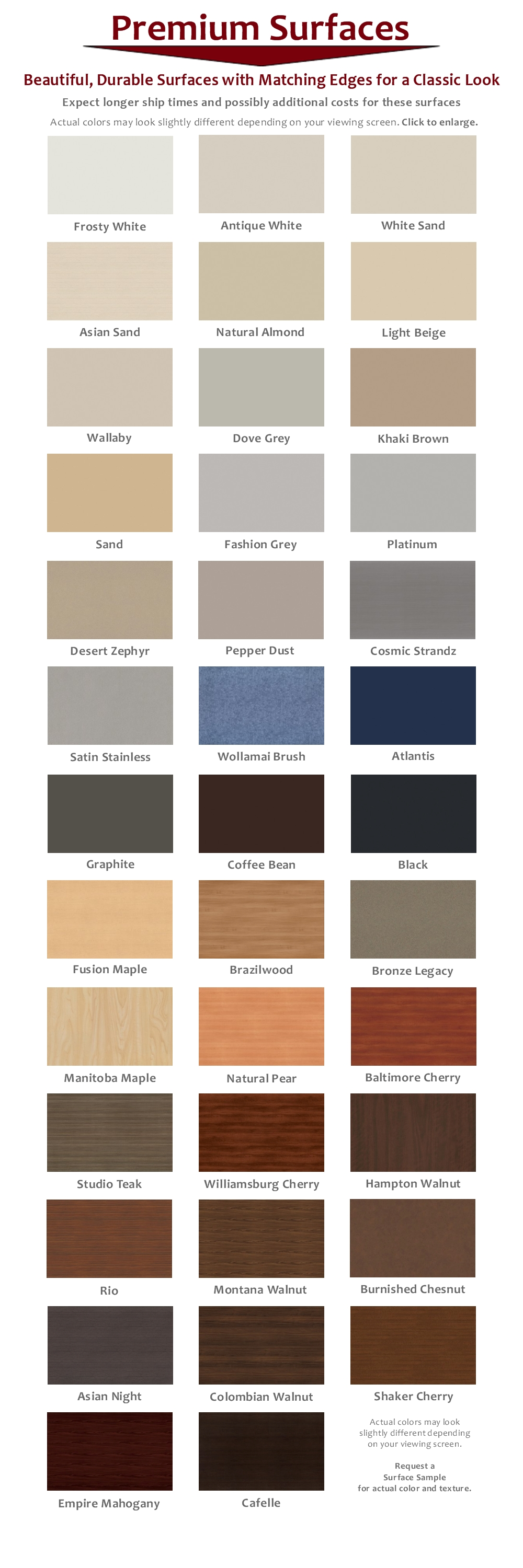 AdjustableSurface Swatches with Matching Edge